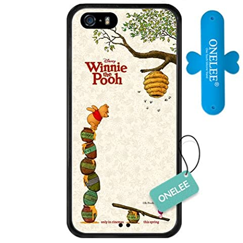 iPhone SE Case,Onelee [Scratchproof][Never Fade] Disney Cartoon Winnie the Pooh iPhone 5s Case Black Rubber(TPU) Tire tread pattern [Free One Touch Silicone (Rubber Iphone 5s Cases Disney)