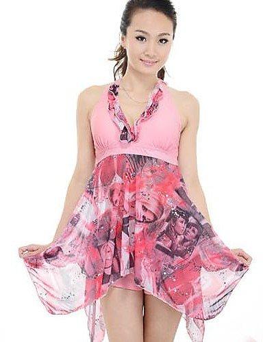 Frauen plus Größendruck grün pink Tankini Badeanzüge, halter asymmetrischem Saum , pink-5xl , pink-5xl