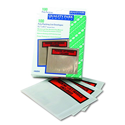 Quality Park 46894 Top-print front self-adhesive packing list envelopes with clear window, 100/box - Qua Print