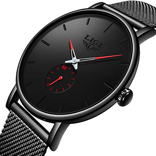 Mens Watch Fashion Simple Minimalist Wrist Watches for Men Waterproof Quartz Analog Dress Business Watch Stainless Steel Band Casual Gents Watch