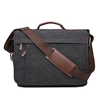 Neumora Practical Design Men's Canvas Shoulder Messenger Bag Casual Laptop Cross-Body Sling Bag Satchel Bag for 15.6 inch Laptop Large Size (Black)