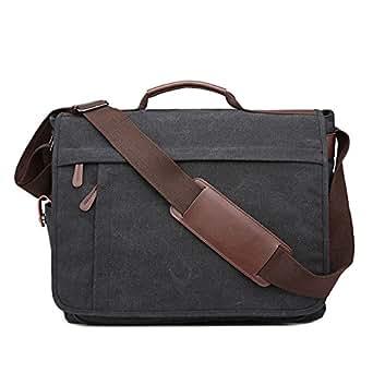 Neumora Practical Design Men's Canvas Shoulder Messenger Bag Casual Laptop Cross-Body Sling Bag Satchel Bag for 15.6 inch Laptop Large Size (Black)