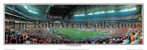 Florida Gators Triumph 2007 BCS National Champions - NCAA Collage Football 13.5x39 Panoramic Poster. Frame Dimensions 15.5x41 Deluxe Double Matt & Brown