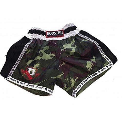 Booster Stylische Muaythai Shorts in braunes Pixel camo seitlich schwarzes mash