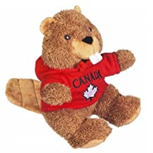 Plush Beaver in Red Canada Maple Leaf Hoody (8 inch)