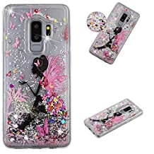 Glitter Case for Samsung Galaxy S9 Plus,Sparkle Floating Liquid Quicksand Soft Clear Slim Fit Silicone Case and Screen Protector,QFFUN Shockproof Anti-Scratch Transparent TPU Bumper Protective Cover - Flower Fairy