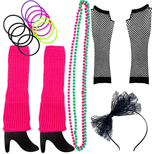 (80s Costume for Women. The Perfect 80s Women Costume Set to Make You The Hit of The Party Pink (A))