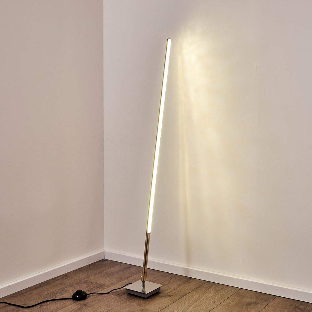 chambre Cette lampe peut sincliner. bureau nickel mat luminaire LED pour salon Lampadaire Strip en m/étal