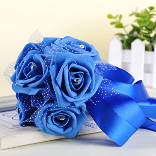 Mikey Store Crystal Roses Pearl Bridesmaid Wedding Bouquet Bridal Artificial Silk Flowers (Blue) - Black Calla Lilly Bouquet