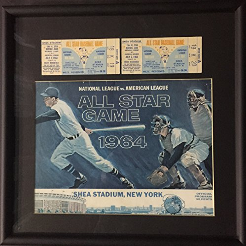 1964 Shea Stadium All Star game program 2 original tickets framed 16x16 NY METS Mets Stadium Tickets