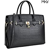 MKY Women Large Handbag Designer Purse Leather Satchel w/ Removable Shoulder Strap (Crocodile leaher-Black)