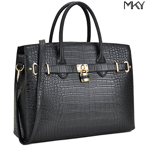 MKY Women Large Handbag Designer Purse Leather Satchel w/ Removable Shoulder Strap (Crocodile leaher-Black) by MKY