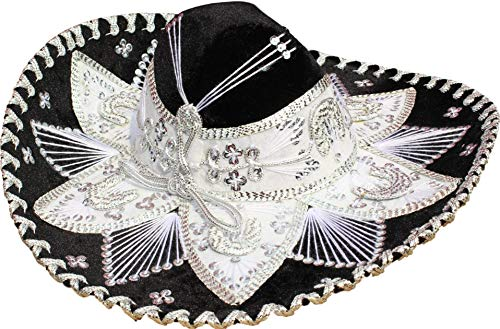 Authentic Mariachi Flowers Style Hat Fancy Premium Mexican Sombrero Charro Hats Made in Mexico (Choose Size & Color) (Youth & Women, Black/Silver)