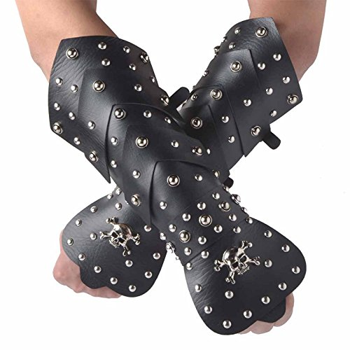 HZMAN 2PACK Black Leather Martial Arts Forearm Guards / Gauntlet Arm Armor with Metal Skull Spikes (Black Metal Costume)