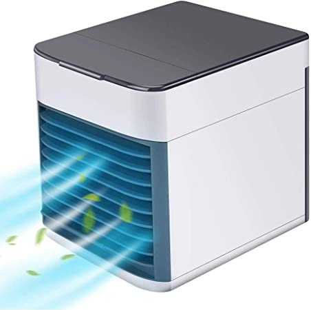 KEYDI Air Cooler, Portable Air Conditioner, Humidifier, Purifier,4 in 1 Portable Mini Air Conditioner, USB Arctic Air Cooler with 7 Colors LED & 3
