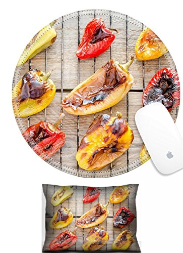 (Luxlady Mouse Wrist Rest and Round Mousepad Set, 2pct IMAGE: 31678188 grilled bell peppers )