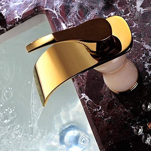 Zxyan 蛇口 立体水栓 バスルームホテルに適しタップジェイド蛇口シングルハンドルの銅と滝の浴室のシンクの温水と冷水ゴールドメッキ トイレ/キッチン用
