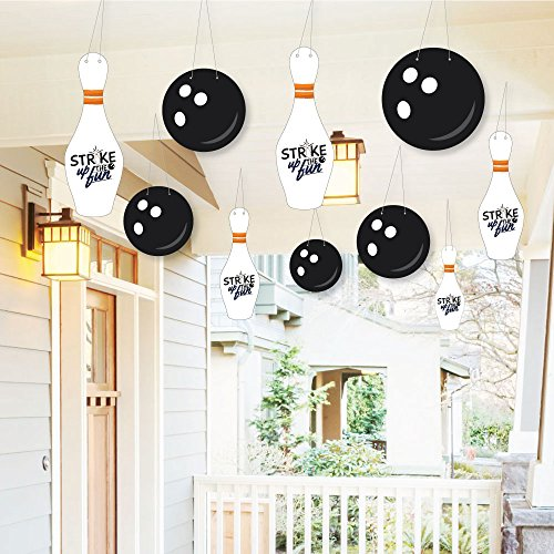 Hanging Strike Up The Fun - Bowling - Outdoor Hanging Decor - Baby Shower or Birthday Party or Decorations - 10 Pieces]()