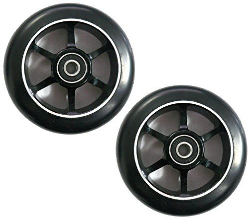 Ten Eighty 6 Spoke 100mm Stunt Scooter Wheels - Black Alloy Cores & Black Tyres (Pair)