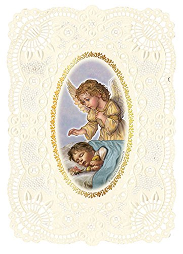 Baptism Holy Cards - Baptism Favors Guardian Angel Holy Prayer Cards with Lace Punch Trim, Pack of 6
