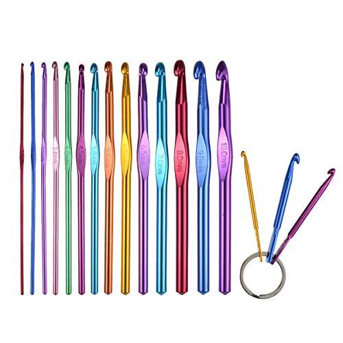 (KOKNIT Set of 14 Packs Crochet Hooks Aluminum Knitting Needles Kit Standard US Size 2mm(B)-10mm(N)-Mini Keychain Set Included,Best Gift for)