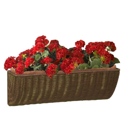 DMC Products 24-Inch Resin Wicker Wall Basket, Antique (Dmc Products Natural Planter)