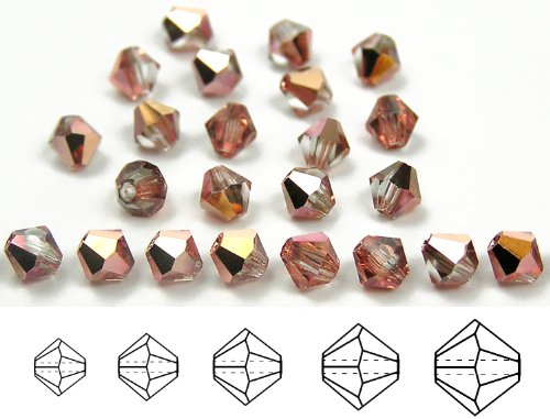 8mm Crystal Capri Gold Half, Czech MC Rondell Bead (Bicone, Diamond Shape), 12 pieces