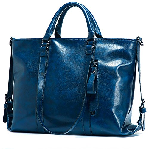 Blue Leather Tote Bag (ROCHVIE Women's Leather Tote Bags,Fashion Oil Wax Leather Top Handle Bags Waterproof Handbags Shoulder Bags for Women(Dark Blue))