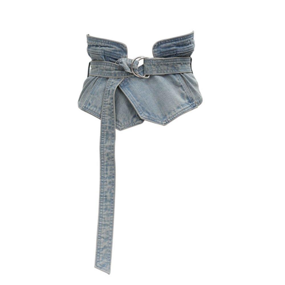 Women's Vintage Denim Peplum Waistband Cummerbund Wide Jeans D Ring Corset Belts (Washed-Denim)