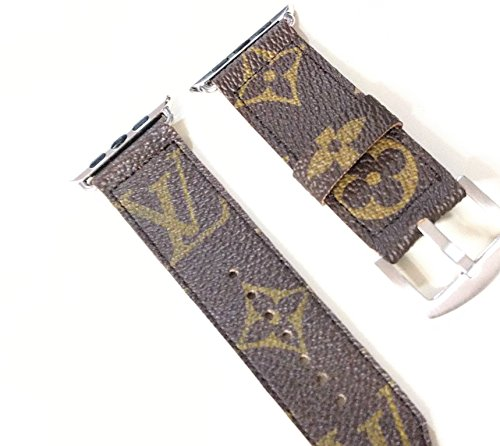 Handmade upcycled and repurposed watch band to fit your apple watch from old LV bag canvas size 42mm silver by QWear