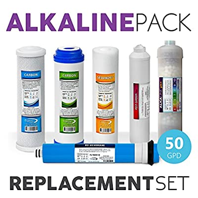 Express Water – 1 Year Alkaline Reverse Osmosis System Replacement Filter Set – 6 Filters with 50 GPD RO Membrane, Carbon (GAC, ACB, PAC) Filters, Sediment (SED) Filters – 10 inch Size Water Filters
