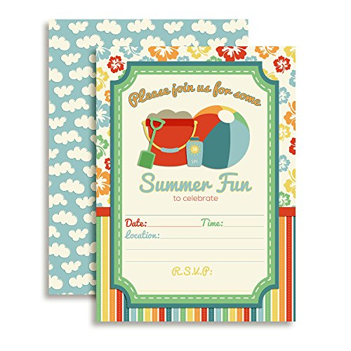 Beach Summer Fun Birthday Party Fill in Invitations set of 10 with envelopes by AmandaCreation