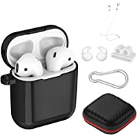 Simpeak Compatible for AirPods Case 1st and 2nd Gen, 6 in 1 Set, Front LED Visible, Soft TPU Plated Protective Case Shockproof Cover Compatible with Apple Airpods 1 & 2, Black