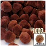 The Crafts Outlet 1,000-Piece Multi purpose Pom Poms, Acrylic, 38mm/about 1.5-inch, round, Light Brown