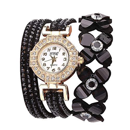 (Flowers Geneva Watches Fashionable Stylish Quartz Bracelet Ladies Diamond Watch Outsta for Girls Women Gift Holiday Present (Black))