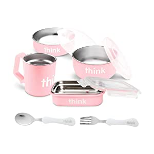 Thinkbaby 9-Piece Feeding Set | Baby Bowl, Cereal Bowl, Bento Box, Lids, Kids Cup, Fork & Spoon | BPA-Free, Stainless Steel Removable Interior - Pink