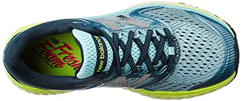 51yUM%2BMUpXL New Balance Women's W1080V7 Running Shoe, Ozone Blue Glow/Lime Glow, 8 B US