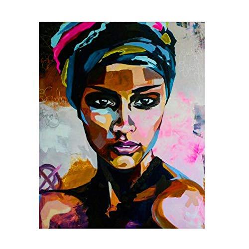 XuFan Acuarela Astract Mujeres africanas Retrato Pintura al oleo Lienzos Impresiones Cuadro de Pared para Sala de Estar 40x50cm sin Marco