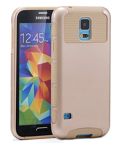 Shockproof Hybrid TPU Case for Samsung Galaxy S5 (Black/Gold) - 1