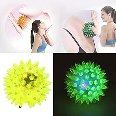4pcs/lot Spike Ball Light Up Balls Toys for Kids and Babies,Bright Color LED Flashing Bounce Ball Massage Sensory Spikey Ball for Children Boys Girls: Toys & Games