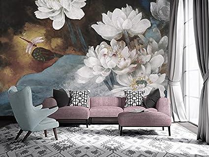 Carta Da Parati Fiori Di Loto : Wongxl dipinti ad olio moderni di fiori di loto carta da parati tv