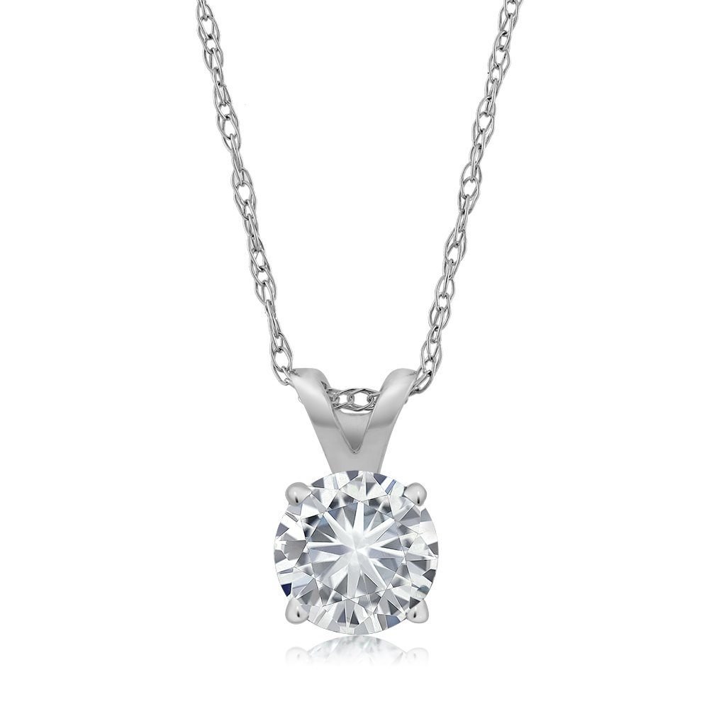 Charles & Colvard 4.5mm VG Moissanite 0.30 CT 14k White Gold Solitaire Pendant Round 4 Prong With 18'' 14K White Gold Chain (0.27 ct Moissanite, White Color, SI2-100% Eye Clean)