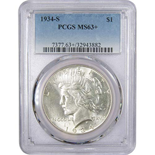 1934-S $1 Peace Silver Dollar MS-63+ PCGS - Peace Dollars Commemorative Coins