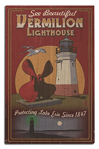 Ohio - Vermilion Lighthouse - Vintage Sign (12x18 Wood Wall Sign, Wall Decor Ready to Hang) (Wood Vermilion Lighthouse)
