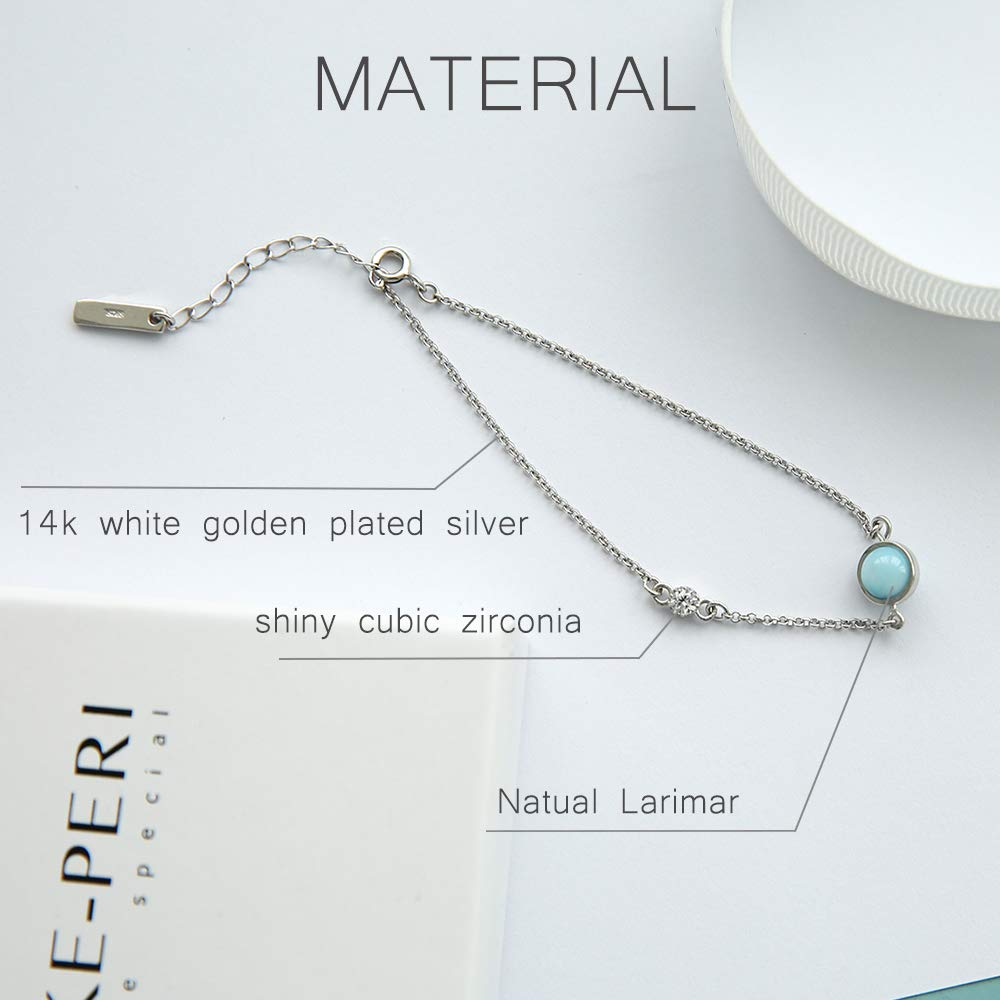 Tuoke 925 Sterling Silver Larimar Bracelet, Adjustable Natural Stone Charm Bracelet Fine Jewelry for Women and Girl