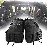 Roll Bar Storage Bag Cage for Jeep Wrangler JK TJ LJ & Unlimited 4 Door with Organizers & Multi-Pockets & Cargo Bag Saddlebag Tool Kits Drink Bottle Phone Tissue Gadget Holder(2 pc)