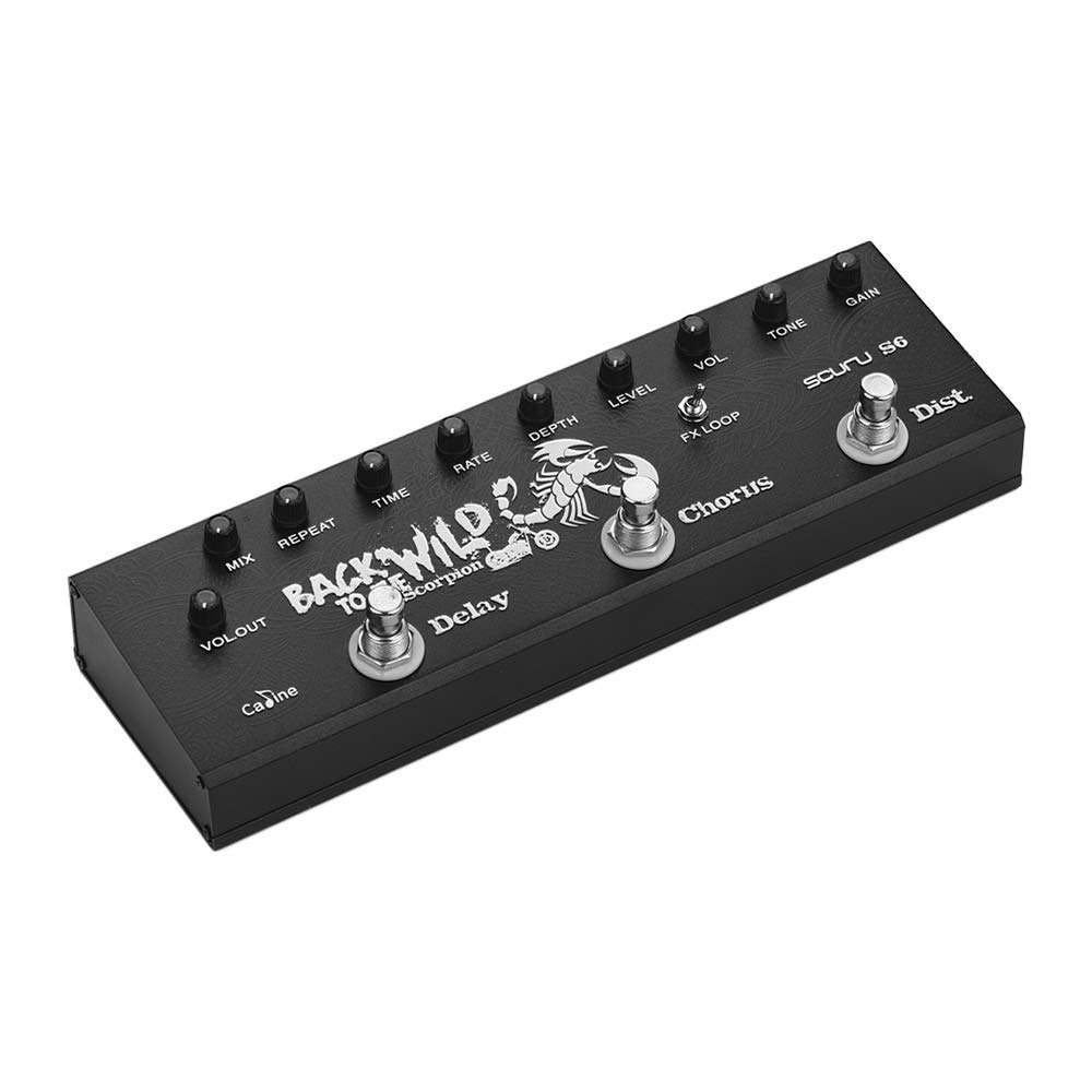 Muslady 3-in-1 Electric Multieffect Pedal Delay Chorus Distortions Guitar Effects Pedals Caline SCURU S6