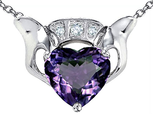 Alexandrite Slide (Star K 8mm Heart Claddagh Pendant Necklace with Simulated Alexandrite Sterling Silver)