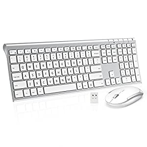 Wireless Keyboard Mouse, Jelly Comb 2.4GHz Ultra Slim Full Size Rechargeable Wireless Keyboard and Mouse Combo for Windows, Laptop, Notebook, PC, Desktop, Computer (White & Silver)