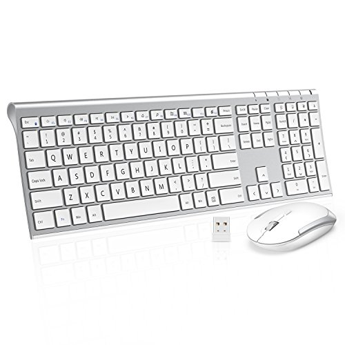 (Wireless Keyboard Mouse, Jelly Comb 2.4GHz Ultra Slim Full Size Rechargeable Wireless Keyboard and Mouse Combo for Windows, Laptop, Notebook, PC, Desktop, Computer (White and Silver))